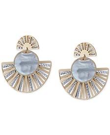 Mother-of-Pearl Two-Tone Fan Drop Earrings in Sterling Silver & 14k Gold-Plate