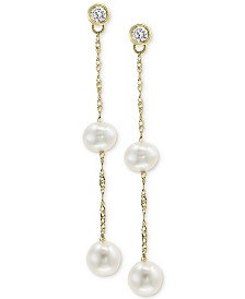 Cultured Freshwater Pearl (5 & 6mm) & Diamond (1/5 ct. t.w.) Drop Earrings in 14k Gold