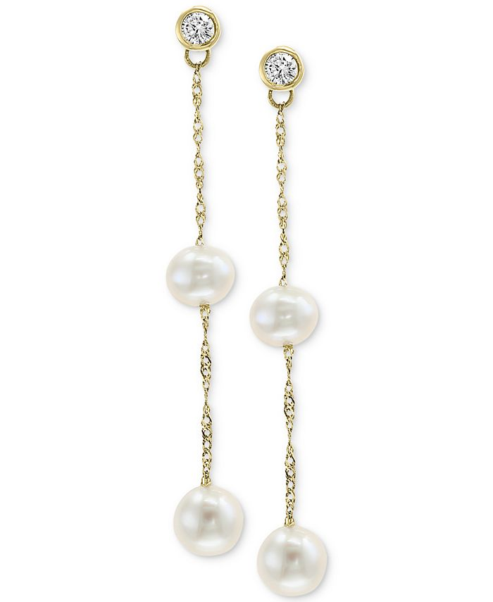 EFFY Collection - Cultured Freshwater Pearl (5 & 6mm) & Diamond (1/5 ct. t.w.) Drop Earrings in 14k Gold