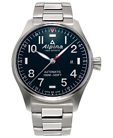 Alpina Men's Swiss Automatic Startimer Pilot Heritage Stainless Steel Bracelet Watch 44mm