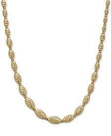 """Textured Bead Graduated Collar Necklace in 14k Gold-Plated Sterling Silver, 17-1/2"""" + 1-1/2"""" extender"""