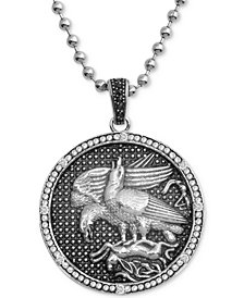 "Men's Diamond Eagle Disc 24"" Pendant Necklace (1/10 ct. t.w.) in Stainless Steel"