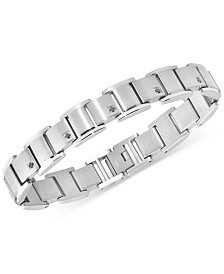 Men's Black Diamond Link Bracelet (3/8 ct. t.w.) in Stainless Steel