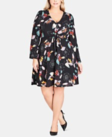 City Chic Trendy Plus Size Floral Tie-Front Fit & Flare Dress