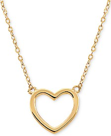 "Open Heart 17"" Pendant Necklace in 10k Gold"