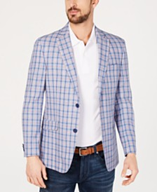 Tommy Hilfiger Men's Modern-Fit Blue & Red Windowpane Sport Coat