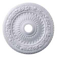 "Floral Wreath Medallion 24"" In White Finish"