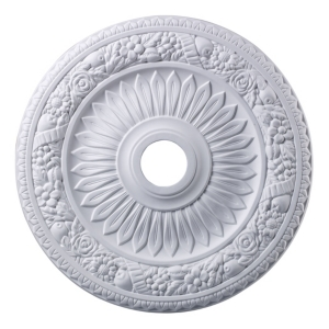 """Floral Wreath Medallion 24"""" In White Finish"""