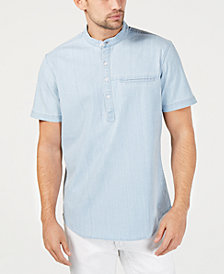 I.N.C. Men's Half-Button Chambray Shirt, Created for Macy's