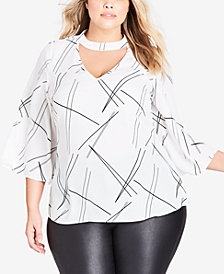 City Chic Trendy Plus Size Random Lines Top