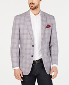 Tommy Hilfiger Men's Modern-Fit THFlex Stretch Red/White Plaid Sport Coat