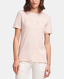 DKNY Faux-Pearl Logo Crewneck Top, Created for Macy's
