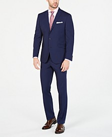 Men's Ready Flex Slim-Fit Stretch Bright Blue Mini Grid Suit