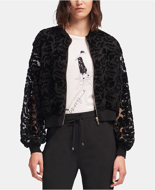 ace6b5dde DKNY Velvet Bomber Jacket & Reviews - Jackets & Blazers - Women ...