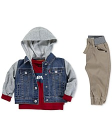 Baby Boys Hooded Trucker Jacket, Batwing-Print Cotton T-Shirt & Jogger Pants Separates