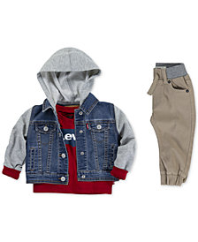 Levi's® Baby Boys Hooded Trucker Jacket, Batwing-Print Cotton T-Shirt & Jogger Pants Separates