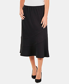NY Collection Diagonal Seam A-Line Skirt