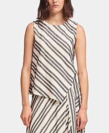 DKNY Eyelash-Striped Asymmetrical Top, Created for Macy's