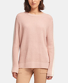DKNY Colorblocked-Stripe Crewneck Sweater, Created for Macy's