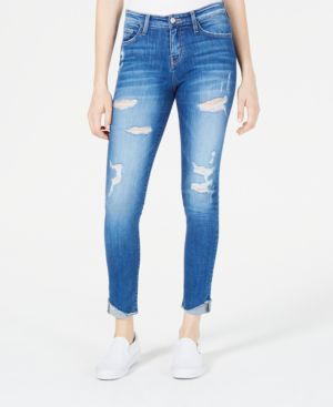 FLYING MONKEY Distressed Cuffed Skinny Jeans in Remington