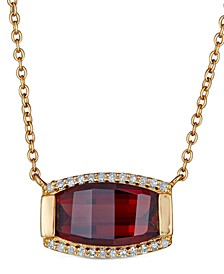 """Garnet (3 ct. t.w.) & Diamond (1/8 ct. t.w.) 18"""" Pendant Necklace in Gold-Plated Sterling Silver"""