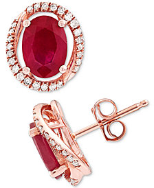Ruby (2-1/4 ct. t.w.) & Diamond (1/6 ct. t.w.) Halo Stud Earrings in 14k Rose Gold