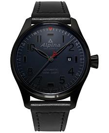 Men's Swiss Automatic Pilot Black Leather Strap Watch 44mm