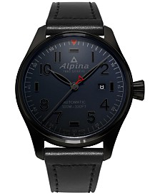 Alpina Men's Swiss Automatic Pilot Black Leather Strap Watch 44mm