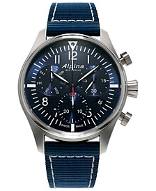 Men's Automatic Swiss Chronograph Startimer Pilot Navy Nylon Strap Watch 42mm