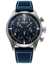 Alpina Men's Automatic Swiss Chronograph Startimer Pilot Navy Nylon Strap Watch 42mm