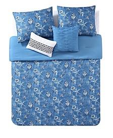 CLOSEOUT! VCNY Coastal Denim 5-Pc Queen Reversible Bedding Comforter Set