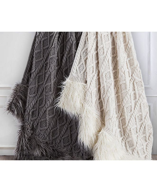 "HiEnd Accents Nordic 50x80"" Cable Knit Throw with Mongolian Fur"