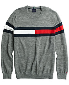 Tommy Hilfiger Adaptive Men's Julian Flag Sweater with Hook & Loop Closure