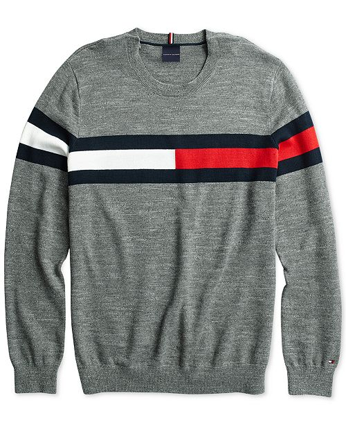 7a5e2cfb5 Tommy Hilfiger Men s Julian Flag Sweater with Hook   Loop Closure ...