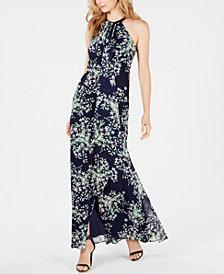 Calvin Klein Printed Halter Gown