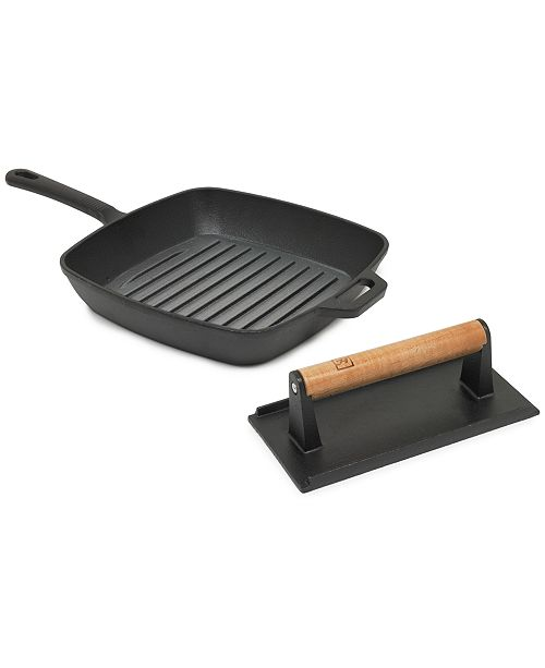 "Sedona Cast Iron Bacon Press & 10.25"" Grill Set"
