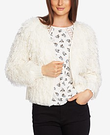 Textured-Knit Open-Front Cardigan