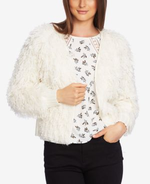 1.STATE Textured-Knit Open-Front Cardigan in Antique White