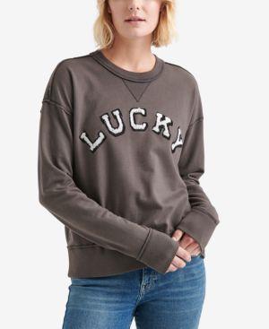 LUCKY BRAND Cotton Logo Raw-Edged Sweatshirt in Dark Grey