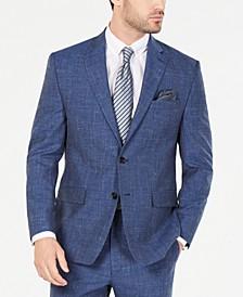 Men's Classic/Regular-Fit UltraFlex Stretch Indigo Textured Suit Jacket