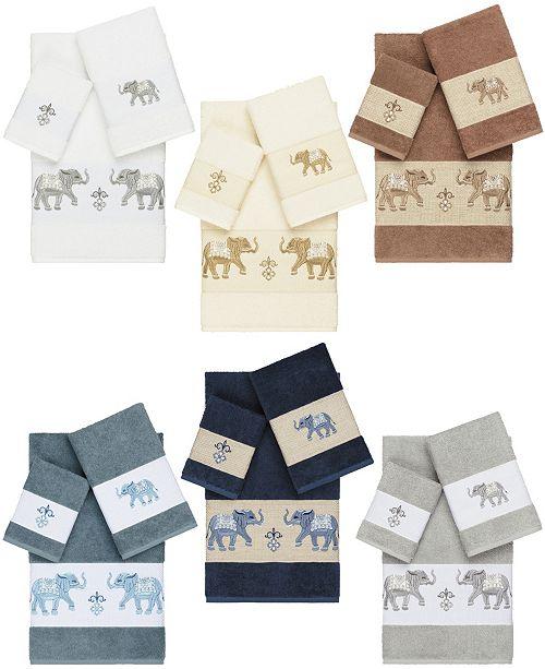 Linum Home Quinn Embroidered Turkish Cotton Bath Towels