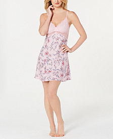 I.N.C. Satin Lace-Trimmed Printed Chemise, Created for Macy's