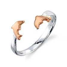 Dolphins Adjustable Ring in Sterling Silver
