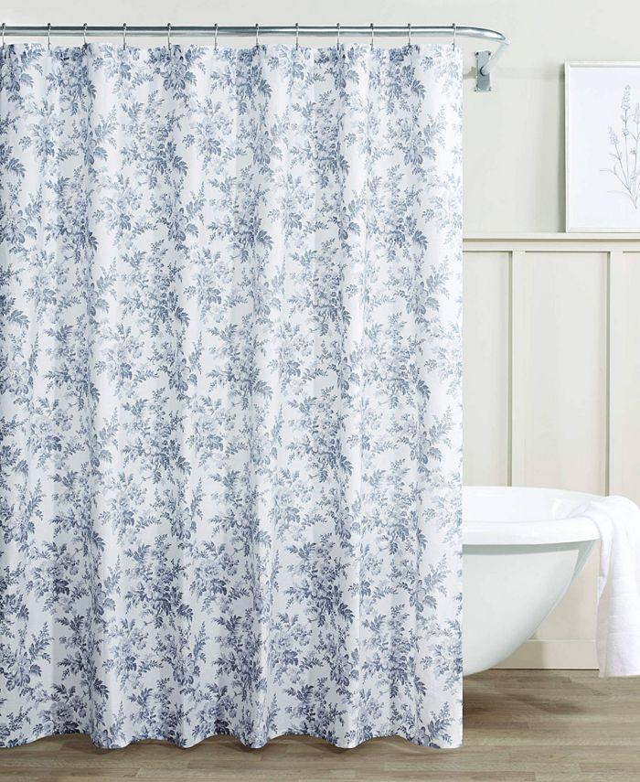 Laura Ashley - Annalise Floral 100% Cotton Shower Curtain