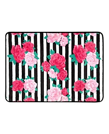 "Flower Stripe 17"" x 24"" Memory Foam Bath Rug"
