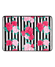 "Betsey Johnson Flower Stripe 17"" x 24"" Memory Foam Bath Rug"
