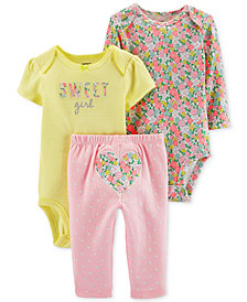 Carter's Baby Girls 3-Pc. Cotton Sweet Girls Bodysuits & Heart Pants Set