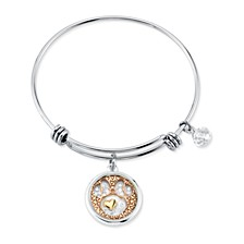 Tri-tone Crystal Minnie Mouse Glass Shaker Adjustable Bangle Bracelet in Stainless Steel with Silver Plated Charms for Unwritten