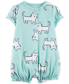 Carter's Baby Girls Cat-Print Cotton Romper