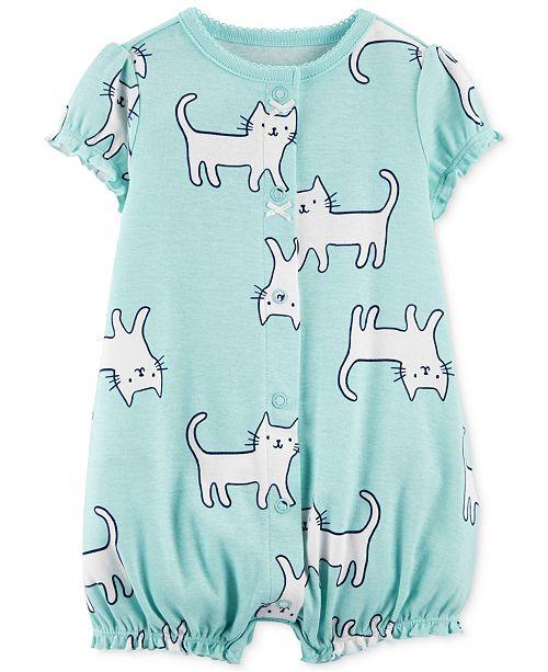 50ec16593a6d Carter s Baby Girls Cat-Print Cotton Romper   Reviews - All Baby ...